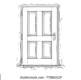Cartoon vector doodle drawing illustration of closed wooden decision door.
