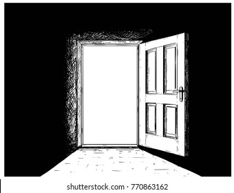 Cartoon vector doodle drawing illustration of open wooden decision door.