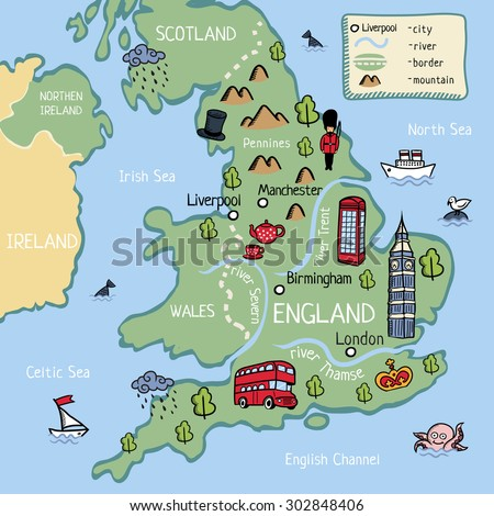 Cartoon Vector Doodle Map England Kids Stock Vector Royalty Free