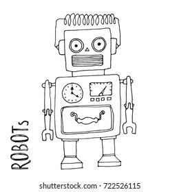 cartoon vector doodle robot for kids coloring book