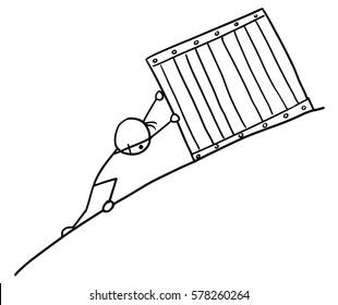 Cartoon vector doodle stickman pushing big box up to slope