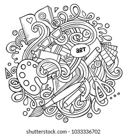 Cartoon vector doodles Art and Design illustration. Line art, detailed, with lots of objects background. All objects separate. Contour artistic funny picture