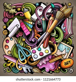 Cartoon vector doodles Art and Design illustration. Colorful, detailed, with lots of objects background. All objects separate. Bright colors artistick funny picture