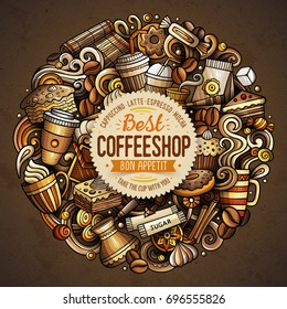 Cartoon vector doodles Coffee shop illustration. Colorful, detailed, with lots of objects background. All objects separate. Bright colors Cafe funny round picture