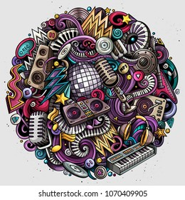 Cartoon vector doodles Disco music round illustration. Colorful, detailed, with lots of objects background. All objects separate. Bright colors musical funny picture