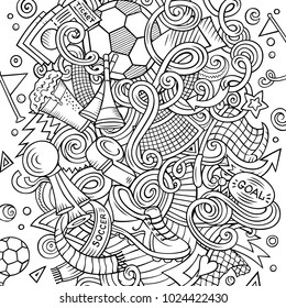 Cartoon vector doodles Football illustration. Colorful, detailed, with lots of objects background. All objects separate. Bright colors Soccer funny picture