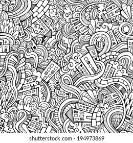 Cartoon vector doodles hand drawn town. seamless pattern