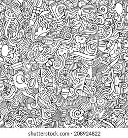 Cartoon vector doodles hand drawn food seamless pattern