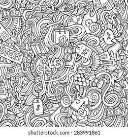 Cartoon vector doodles hand drawn sale shopping seamless pattern