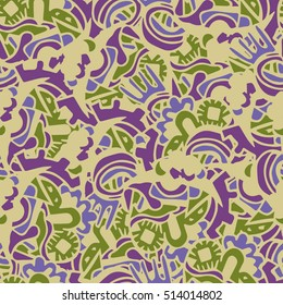 Cartoon vector doodles hand drawn abstraction. seamless pattern