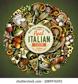 Cartoon vector doodles Italian Food round illustration. Colorful, detailed, with lots of objects background. All objects separate. Bright colors Italy cuisine funny picture