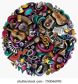 Cartoon vector doodles Music illustration. Colorful, detailed, with lots of objects background. All objects separate. Bright colors musical funny round picture