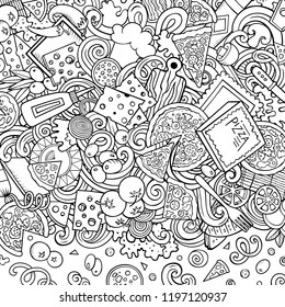 Cartoon vector doodles Pizza frame. Contour drawing, detailed, with lots of objects background. All objects separate. Sketchy pizzeria funny border
