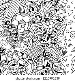 Cartoon vector doodles Soccer frame. Line art, detailed, with lots of objects background. All objects separate. Sketchy football funny border