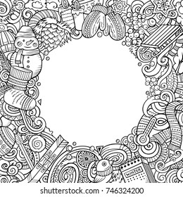 Cartoon vector doodles Winter square frame design. Line art detailed, with lots of objects illustration. All items are separate. Contour drawing seasonal funny border