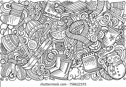Cartoon vector doodles Winter vertical horizontal stripe illustration. Line art detailed, with lots of objects illustration. All items are separate
