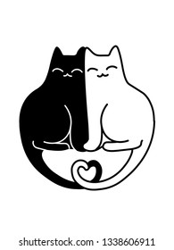 A Cartoon Vector Drawing Of A Black And A White Cats In Love Sitting Together With Their Tails Shaped Like A Heart