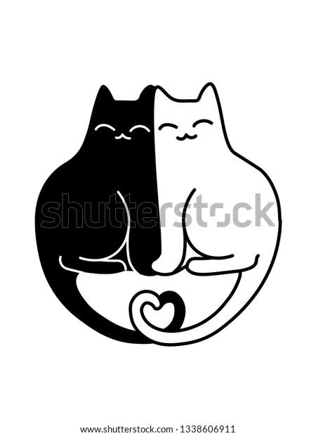 Cartoon Vector Drawing Black White Cats Stock Vector Royalty Free 1338606911