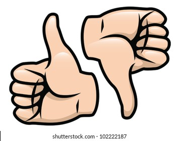 A cartoon vector drawing of a thumbs up and a thumbs down. Vector.