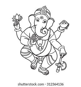 Cartoon vector elephant head God Ganesha. Invitation cards Dawali Holiday or Ganesh Chaturthi. Black and white. Isolated.