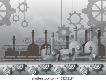 cartoon vector factory interior with separated layers for game and animation, game design asset