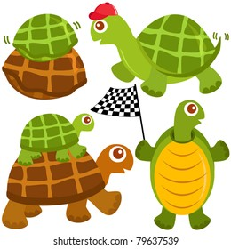 Cartoon Vector of Fast Turtle, the winner. A set of cute and colorful icon collection isolated on white background