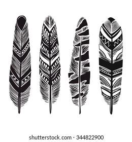 Cartoon vector feathers.