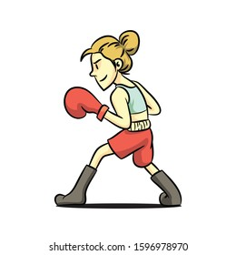 cartoon vector of female boxer in vintage style