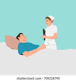 Cartoon Vector Female Nurse Talking to Male Patient In Hospital Bed