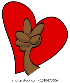 Cartoon vector fingers peace sign with heart