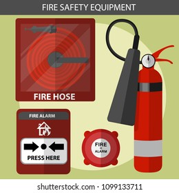 Cartoon vector fire safety equipment fire alarm,fire hose and extinguisher
