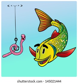 Cartoon vector fish.