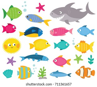 Cartoon vector fishes set, isolated design elements