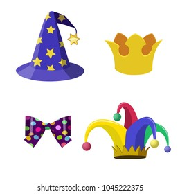 Cartoon vector fun headdresses. Magician hat, Joker cap, crown, bow. Set