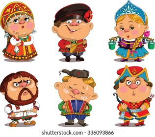 Cartoon. Vector. Funny in Russian folk costumes. Travesty cartoon. Characters.   Russian set. Isolated objects.
