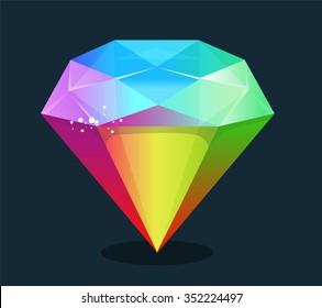 Cartoon vector gem and diamond icon rainbow color isolated on background.
