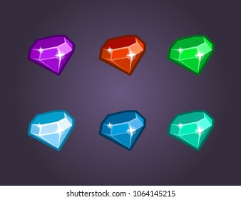 Cartoon vector gems and diamonds icons set in different colors on the dark background. UI Icon Kit for a games.  Can use to Mobile, web of video Games. Isolated.