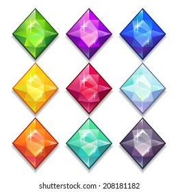 Cartoon vector gems and diamonds icons set in different colors on the white background.