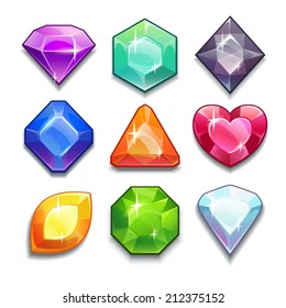 Cartoon vector gems and diamonds icons set in different colors with different shapes, isolated  on the white background.