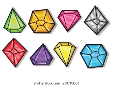 Cartoon vector gems and diamonds icons set in different colors on the white background