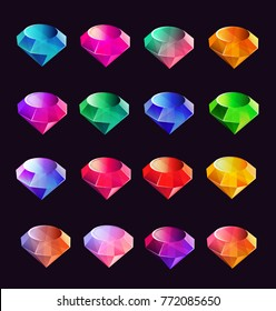 Cartoon vector gems and diamonds icons set in different, isolated on the dark background. Vector illustration