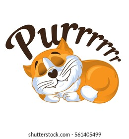 Cartoon vector ginger cat  curled up and purring. Vector illustration.