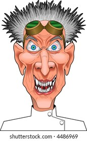 cartoon vector graphic depicting a mad scientist