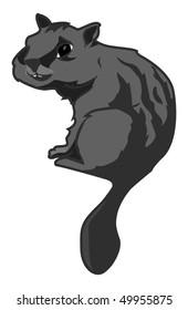 cartoon vector gray scale illustration chipmunk