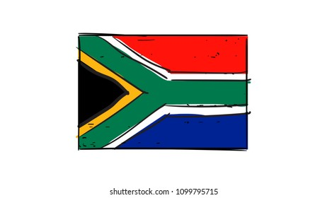 Cartoon, vector hand drawing of South African flag illustration