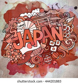 Cartoon vector hand drawn doodle Japan illustration. Watercolor detailed design background with objects and symbols