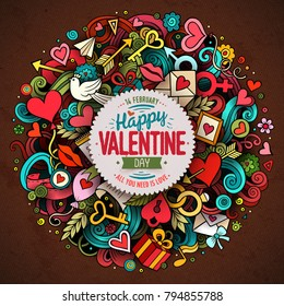 Cartoon vector hand drawn Doodle Happy Valentine's Day illustration. Colorful detailed design background with objects and symbols. All objects are separated