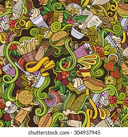 Cartoon vector hand drawn Doodles on the subject of fast food and sweets seamless pattern. Colorful background