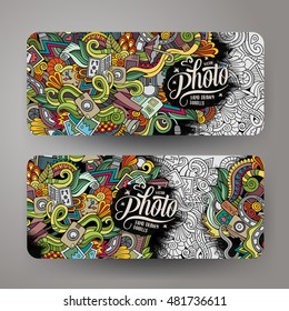 Cartoon vector hand-drawn Doodle on the subject of photo. 2 horizontal banners design templates set
