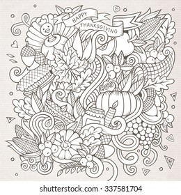 Cartoon vector hand-drawn Doodle Thanksgiving. Sketchy design background with objects and symbols.